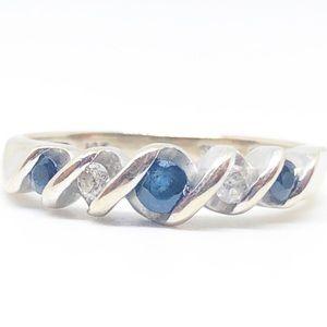 10k White Gold Real Blue Sapphire & Diamond Ring